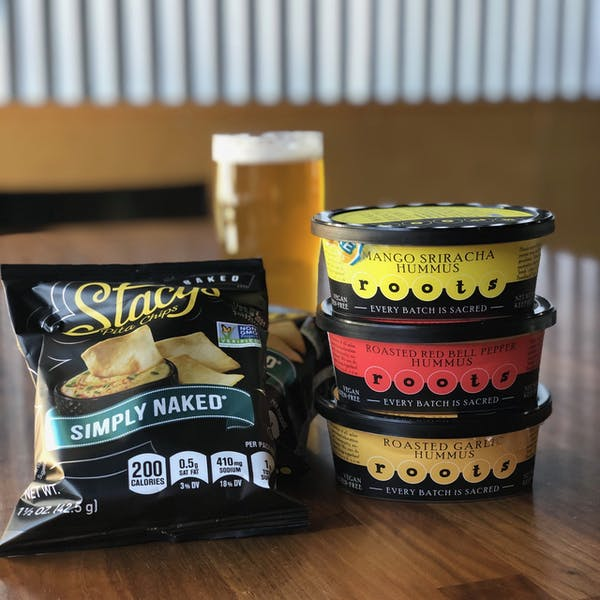 Archetype Brewing Snacks _ Roots Hummus and Stacy's Pita Chips