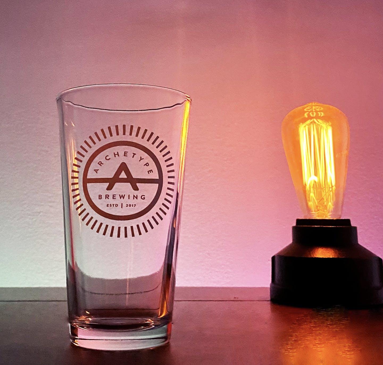 pint glass and eddison bulb