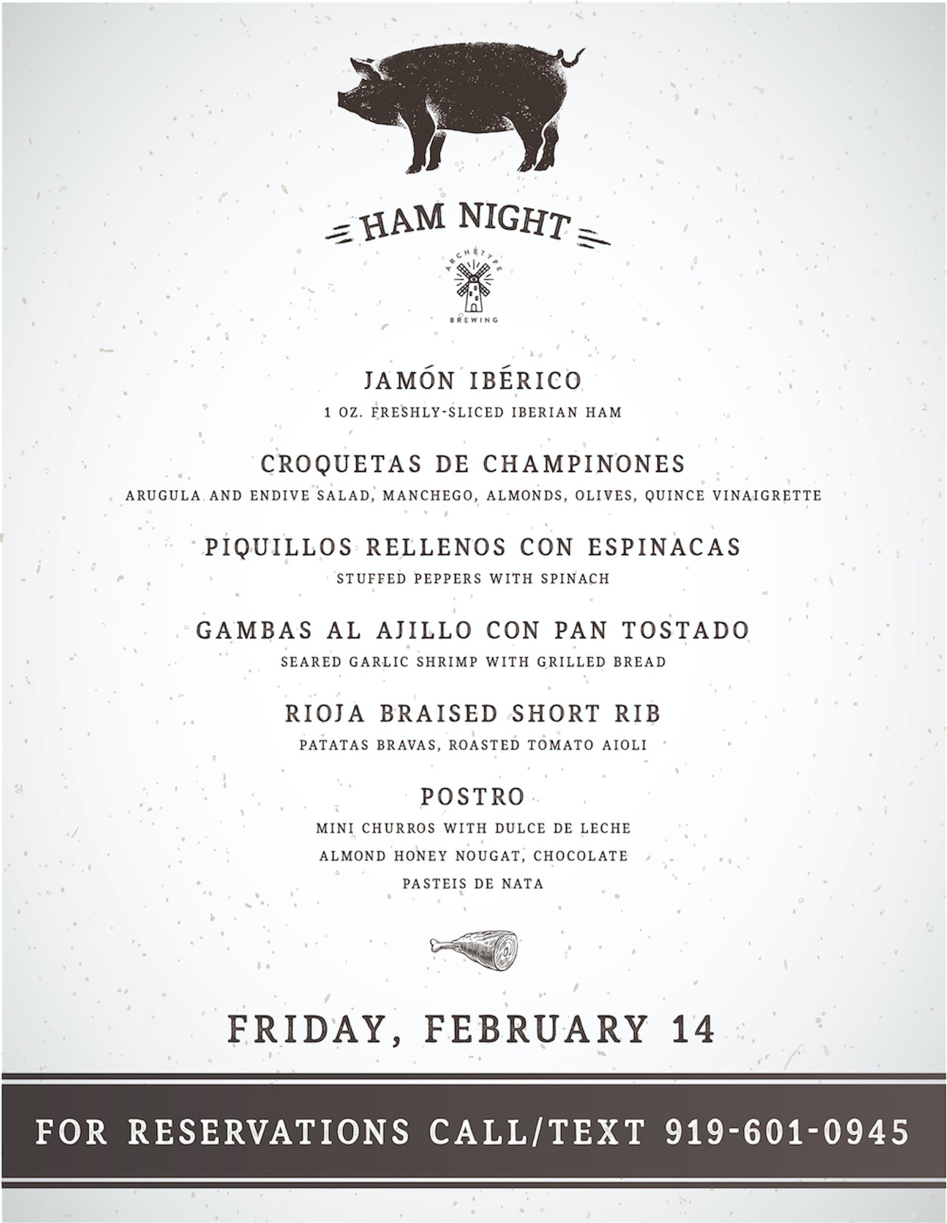 Ham Night Menu