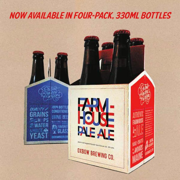 Oxbow Farmhouse Pale Ale Now Available in 4pks!