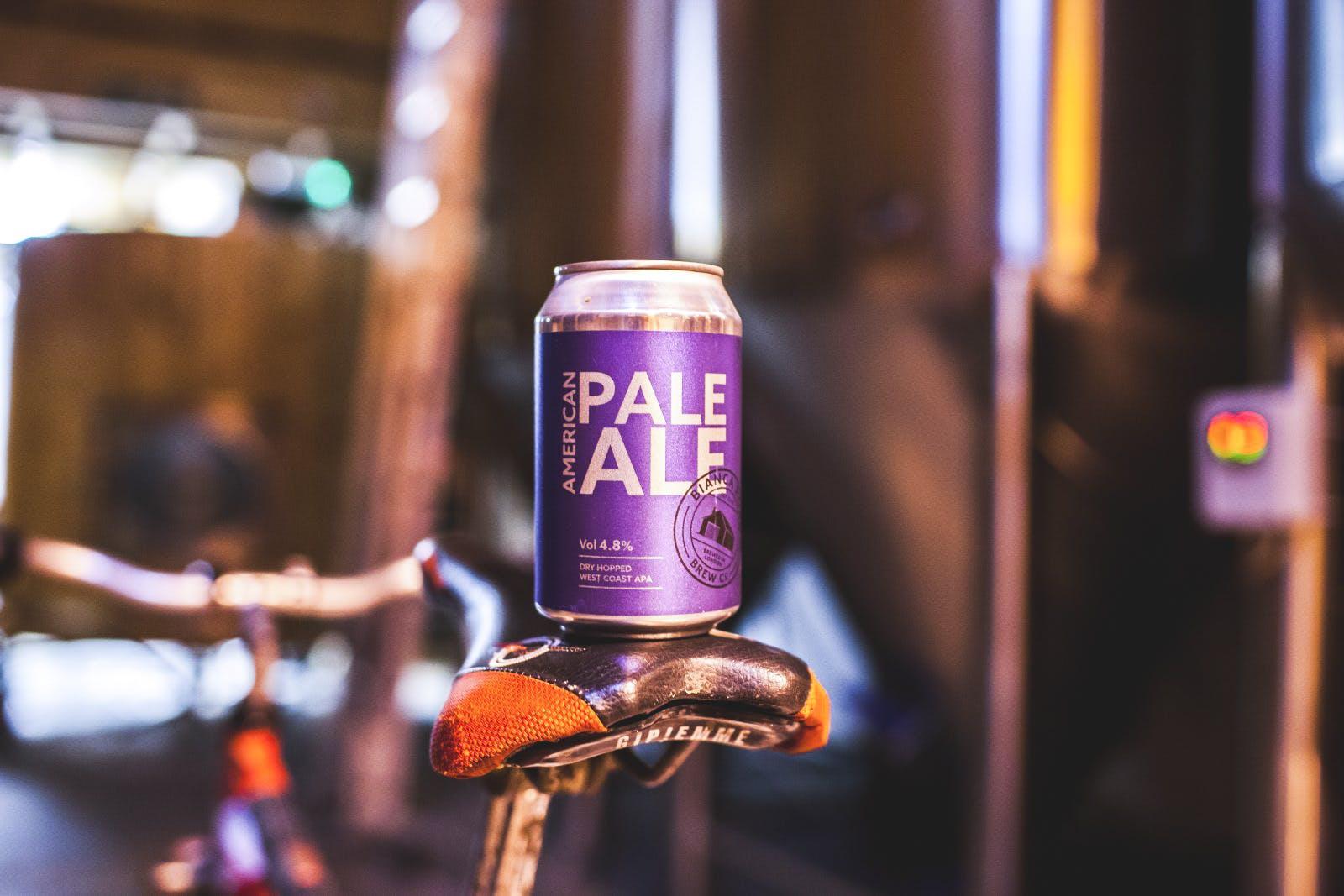 Pale ale on a bike seat