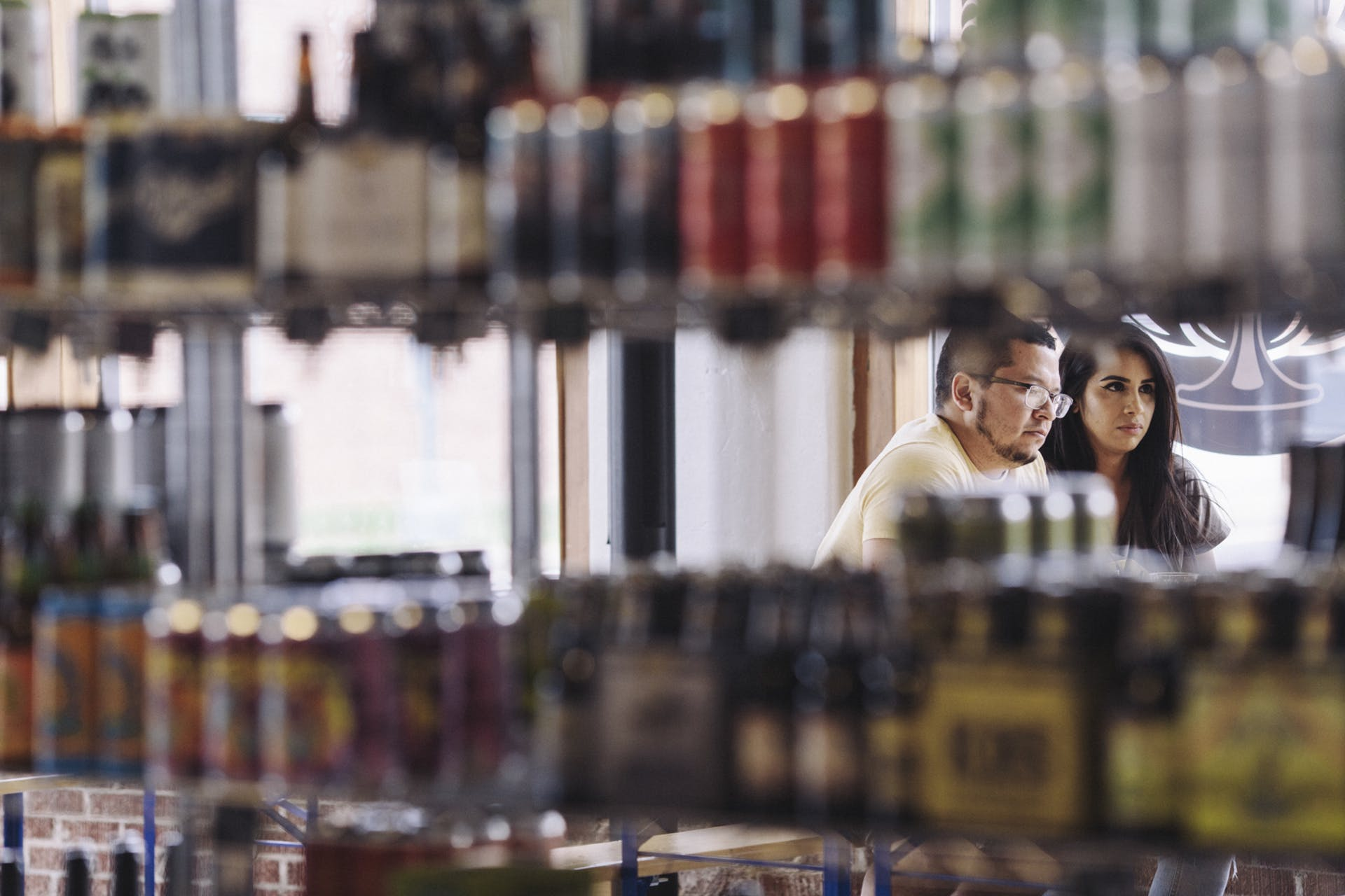 Customers in the bottle shop