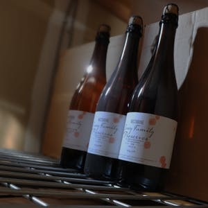 Casey Brewing and Blending vintage beer bottles aging in cellar