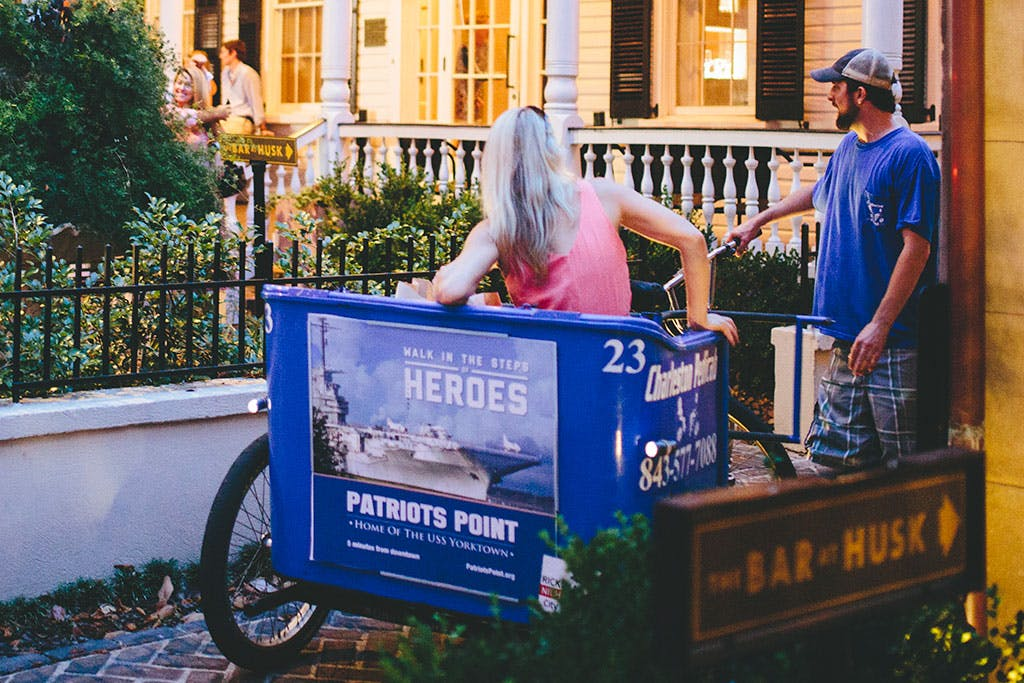 Pedicab displaying signage for Patriots Point
