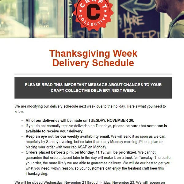 Thanksgiving Week Delivery Schedule – We Are Only Delivering on Tuesday, 11/20