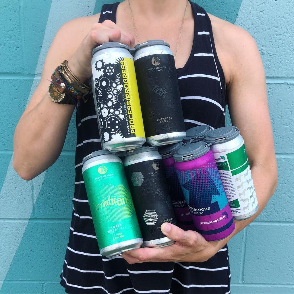 Proclamation hands with cans