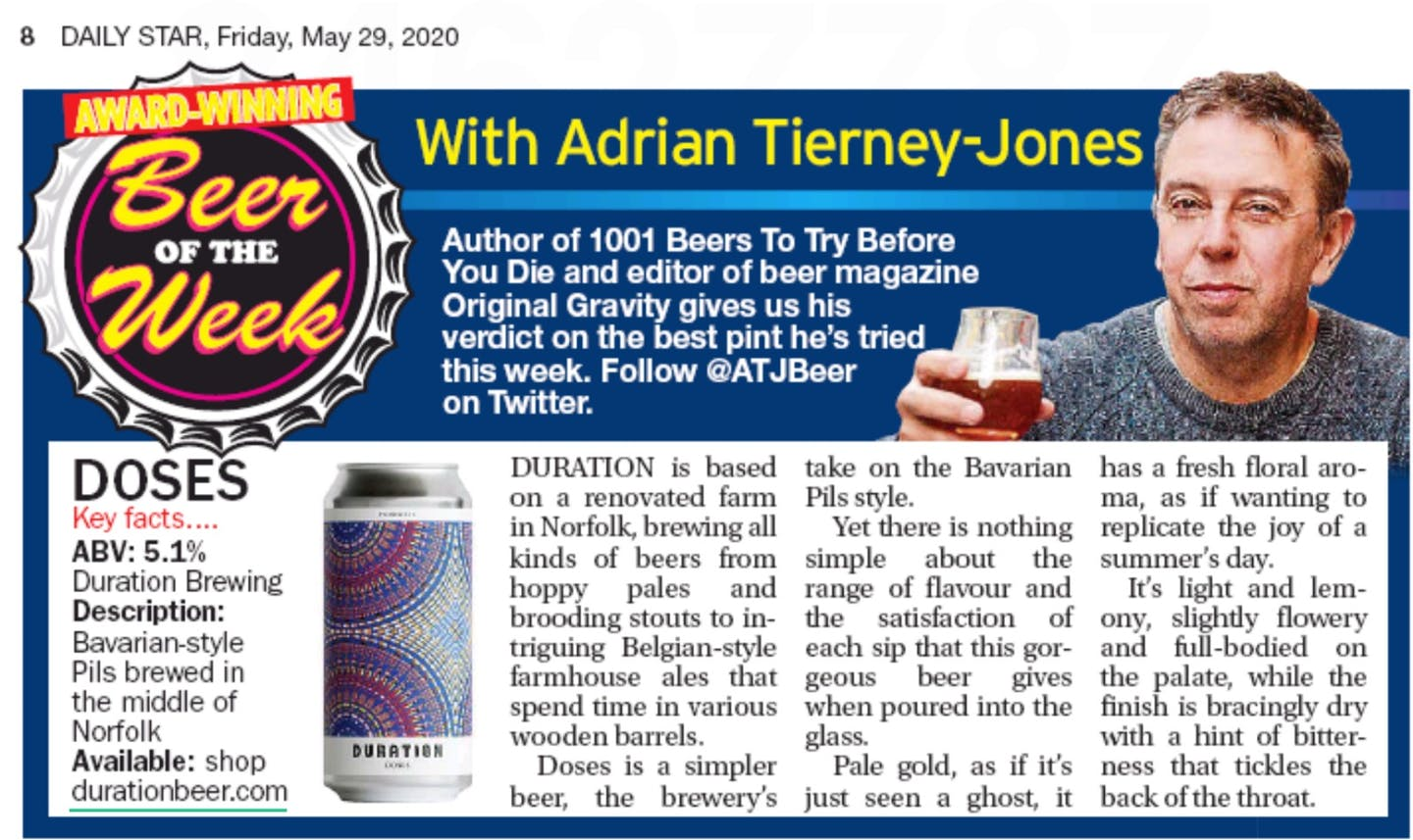 Daily Star - Beer of the Week with Adrian Tierney-Jones - Duration Doses Pilsner