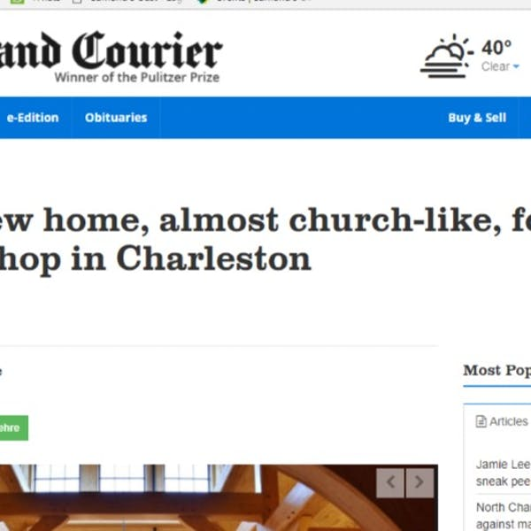 A grand new home, almost church-like, for a beer and wine shop in Charleston