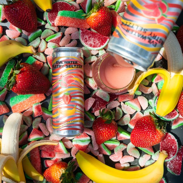 Image or graphic for EVIL WATER PASTRY SELTZER – WATERMELON CANDY, STRAWBERRY, BANANA