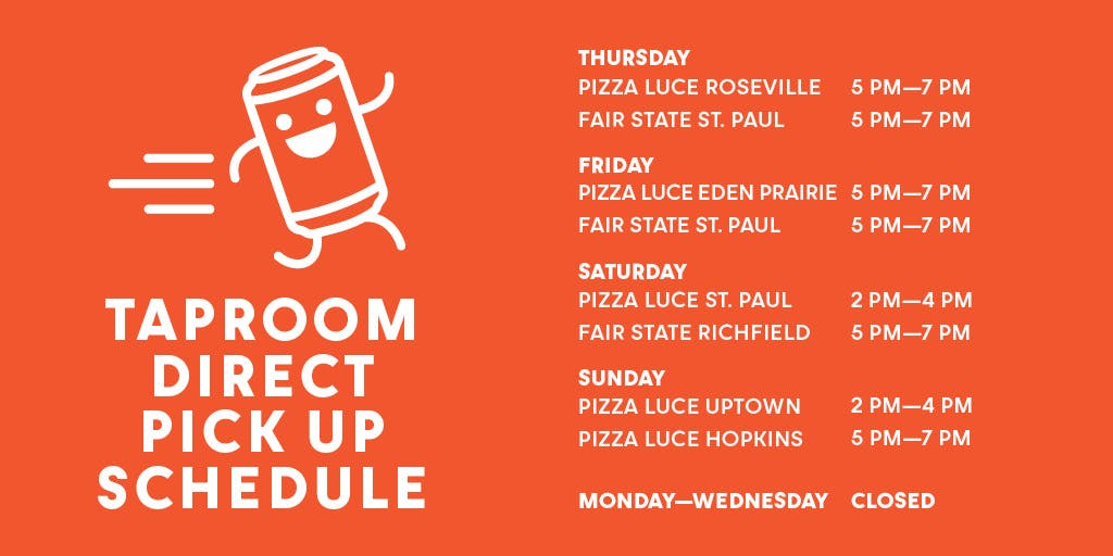 Red schedule of Taproom Direct hours