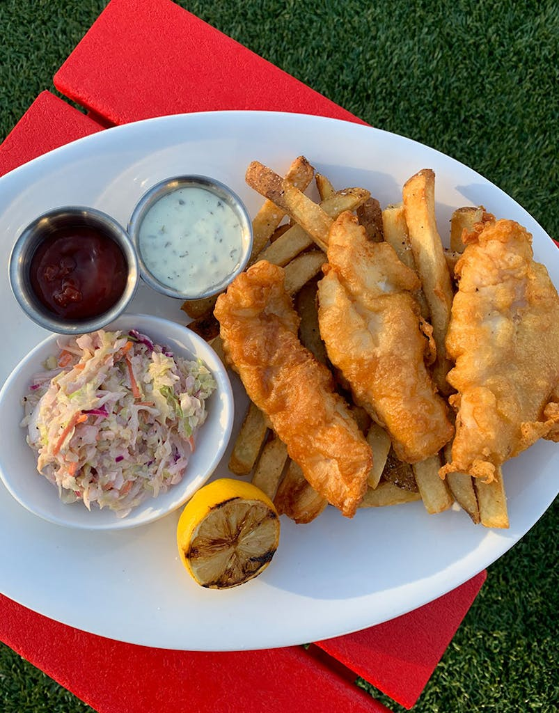 Florida Ave beer battered North Atlantic cod, hand-cut French fries, coleslaw and house-made tartar sauce
