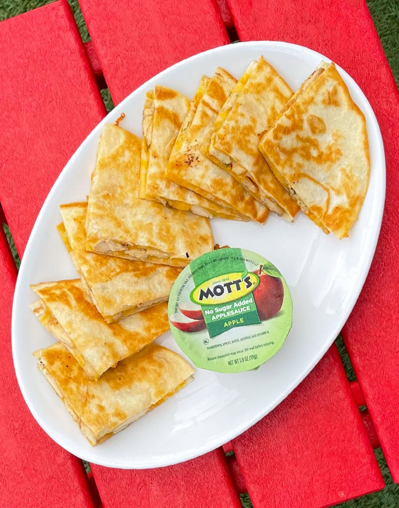 Two 6 in. flour quesadillas, cheddar jack cheese