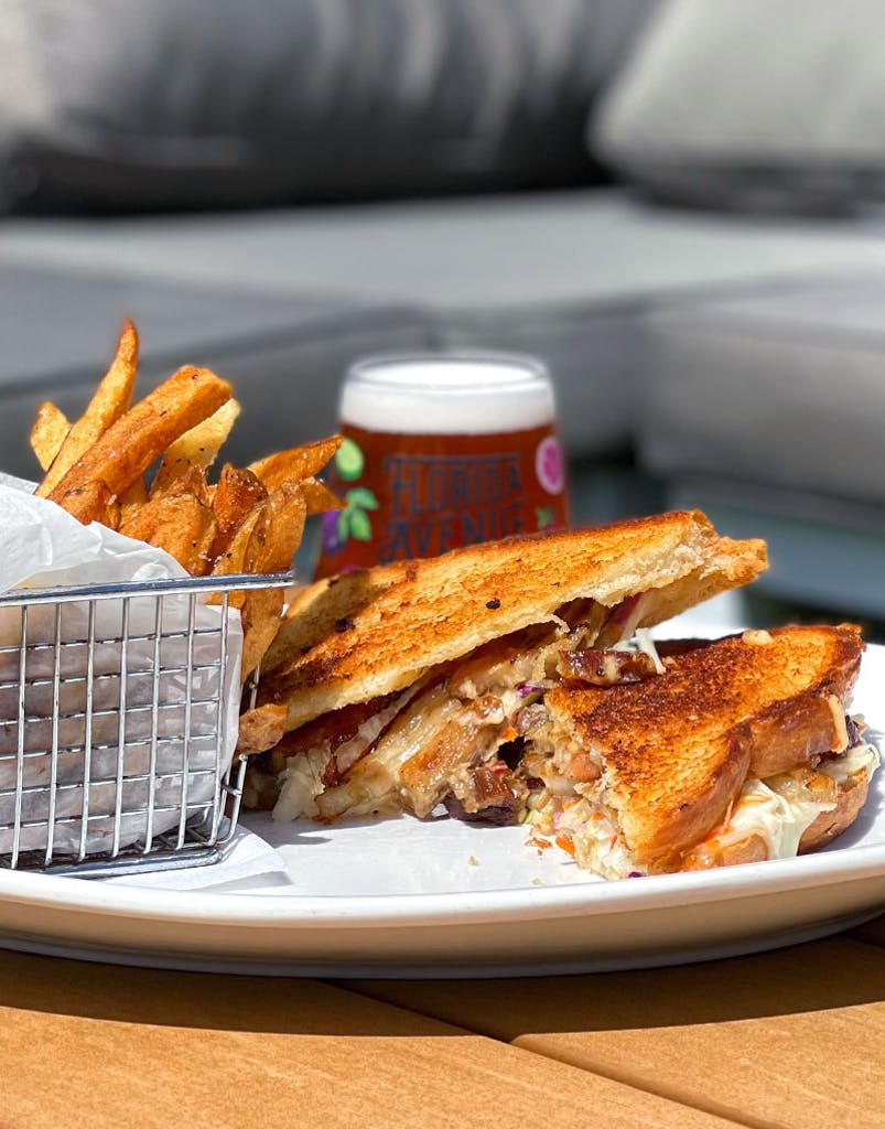 Sweet and spicy thick cut pork belly, coleslaw, Swiss cheese, spicy mayo on toasted sourdough bread