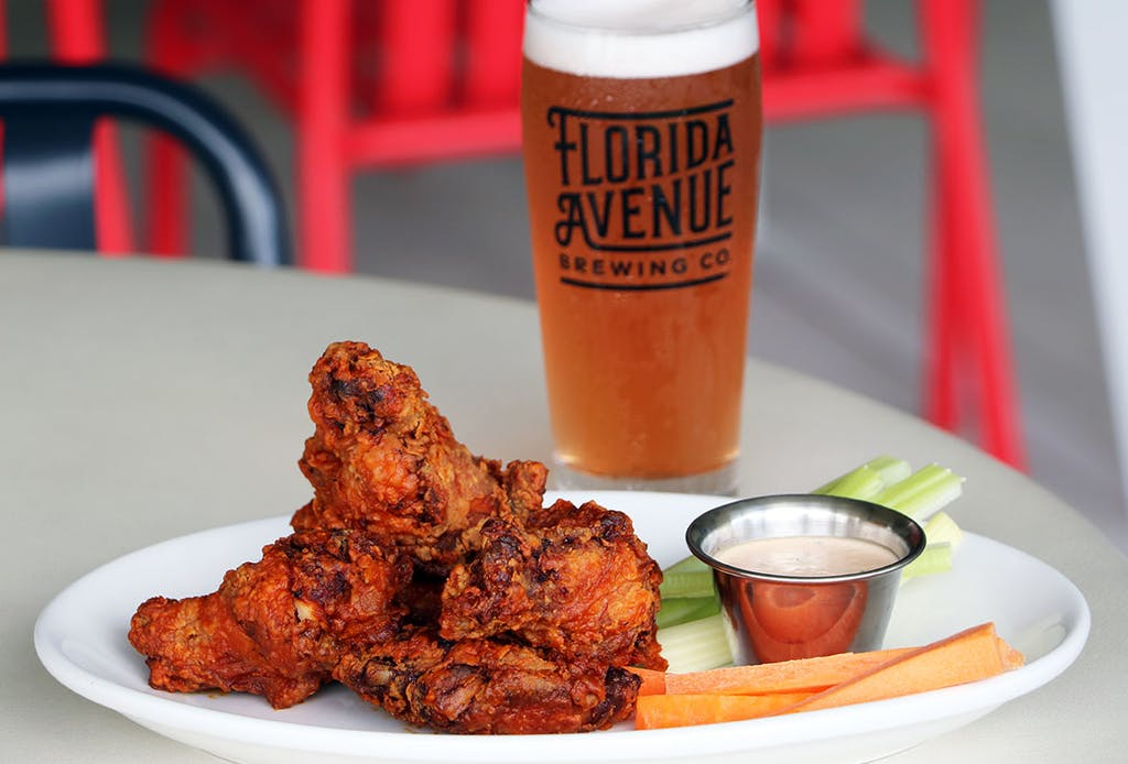 Six breaded or naked wings, served with house-made blue cheese dressing or house-made ranch dressing, celery and carrot sticks