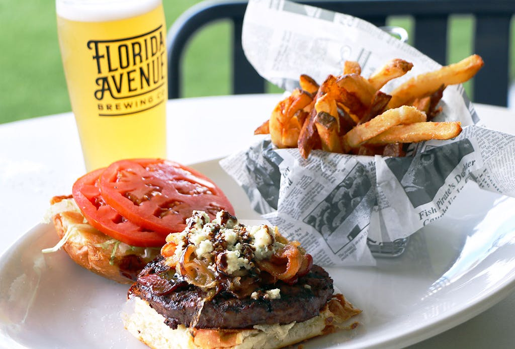 ½ lb. grilled all beef blackened patty, applewood smoked bacon, caramelized onion, lettuce, tomato, blue cheese crumbles, topped with balsamic glaze on a toasted potato bun