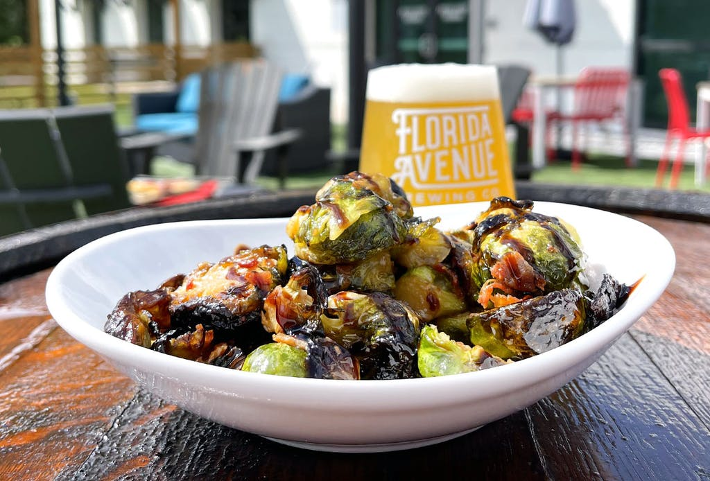 Sautéed brussels sprouts with  applewood bacon, balsamic glaze
