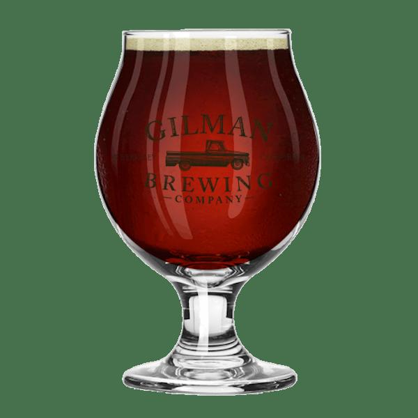 13 oz glass of Belgian Quad medium brown