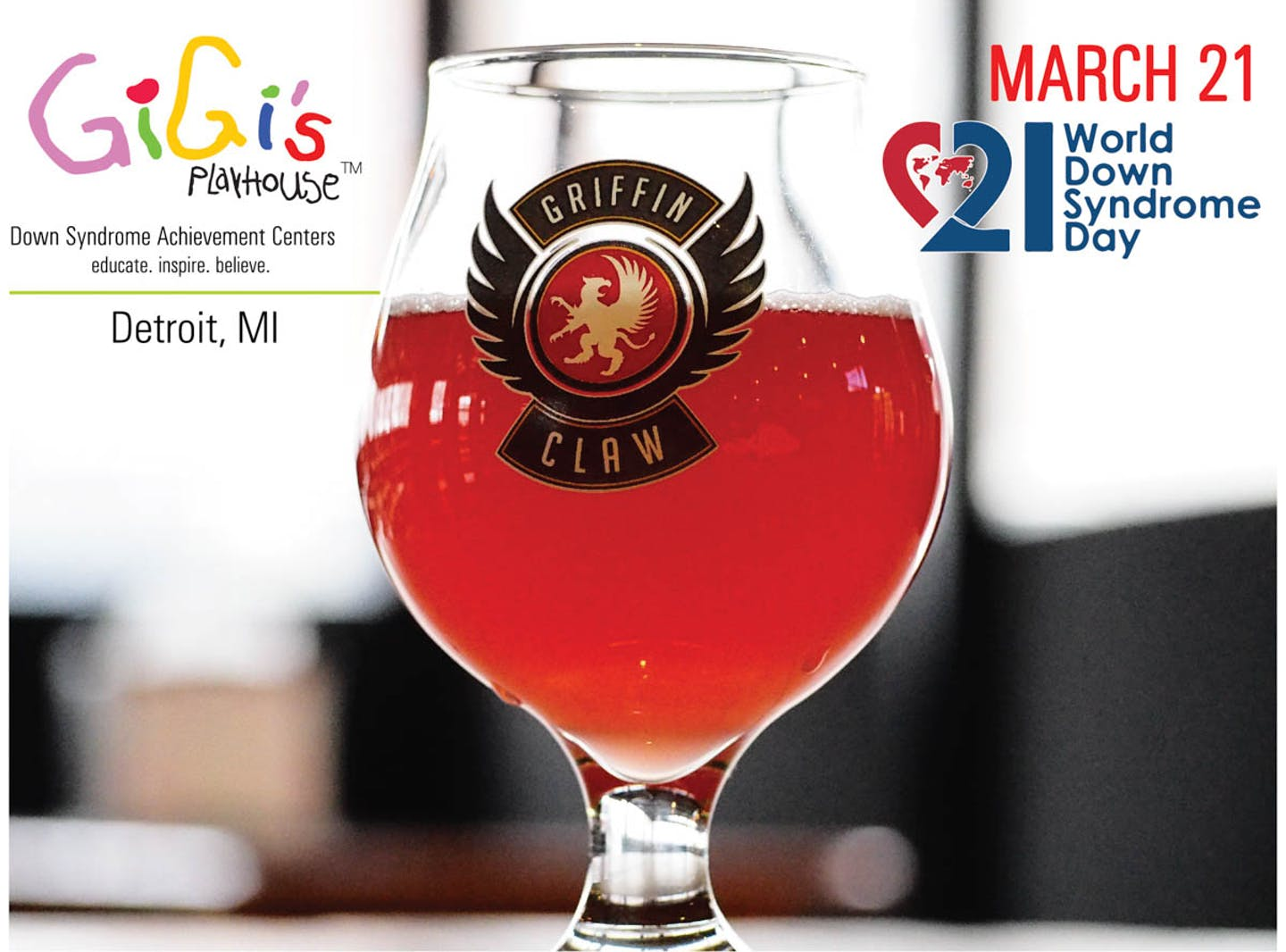 Gigi's Playhouse World Down Syndrome Day Logo with Beer