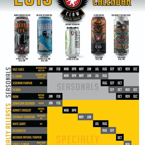 Griffin Claw Reveals 2019 Beer Release Calendar Along with New  Packages