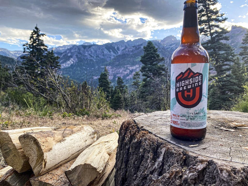Highside Brewing beer on a mountain