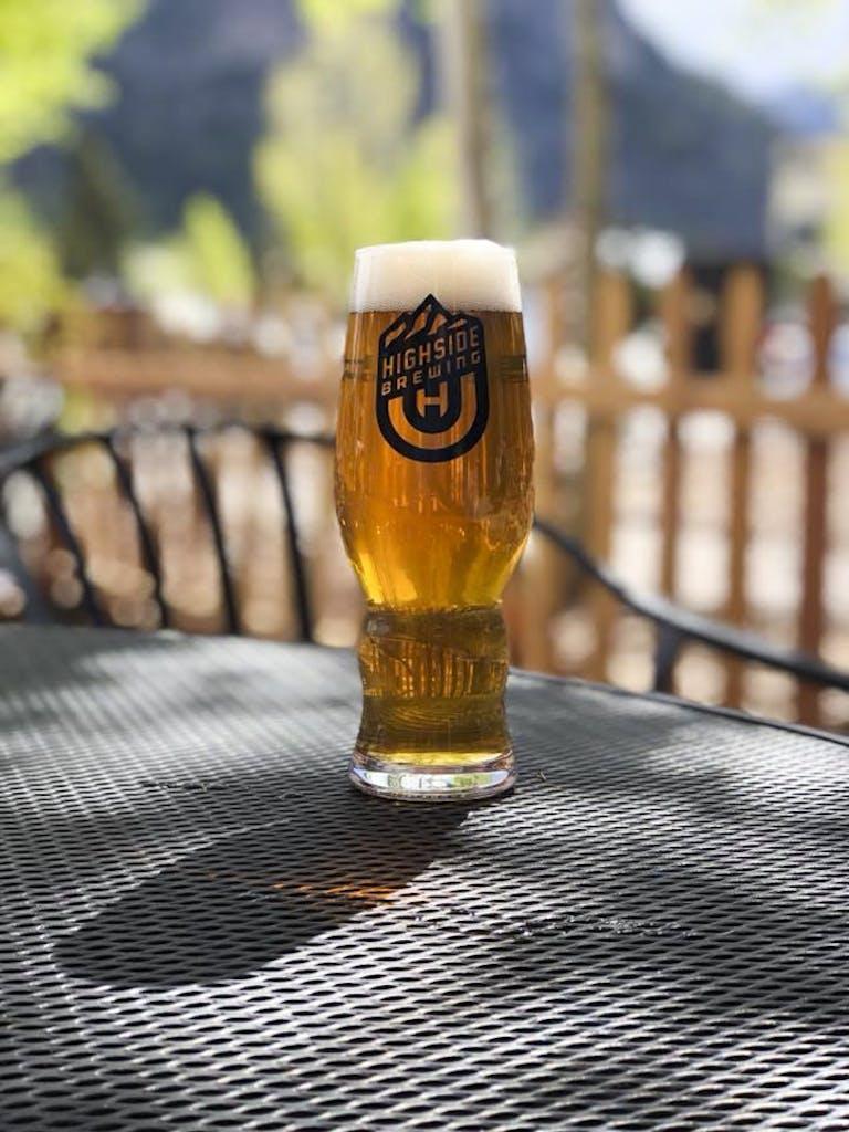 Beer in the outside beer garden
