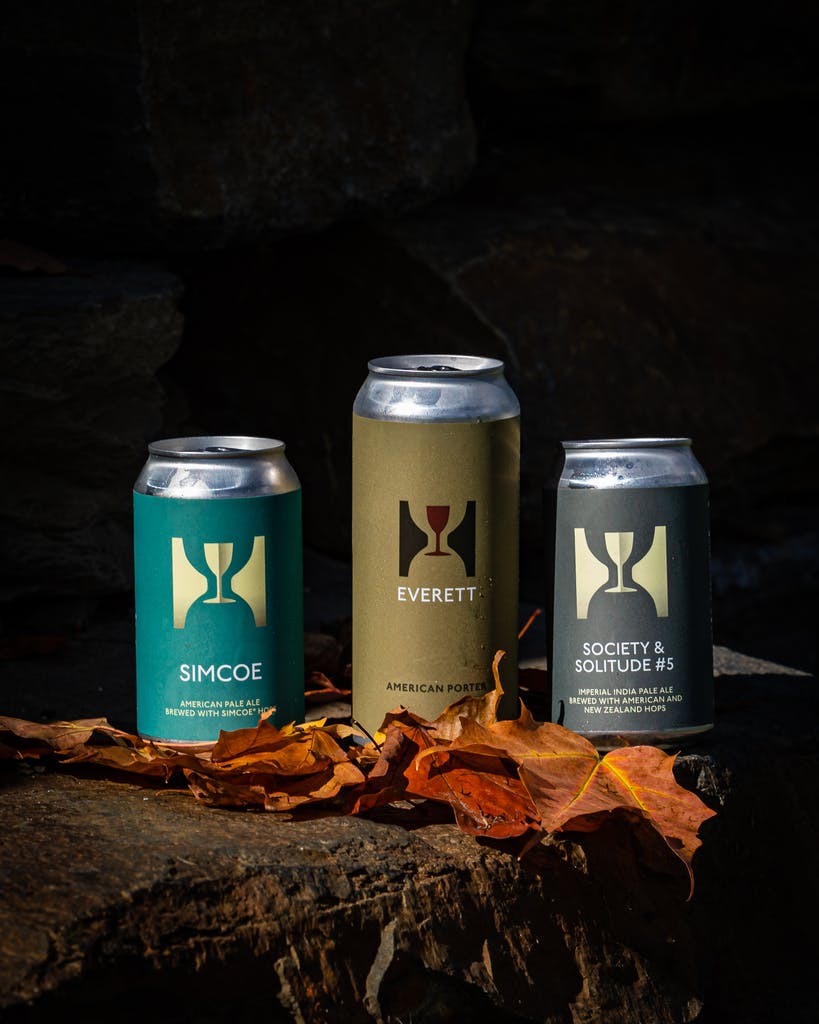 Cans of Everett, Simcoe Pale Ale and Society & Solitude