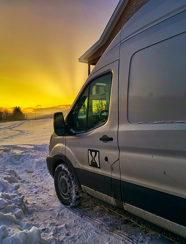 Delivery truck sunrise