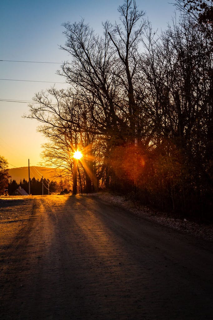 Visit - Sunrise Snowy Road