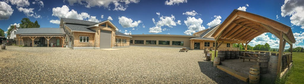 Wide view of the taproom outdoor space
