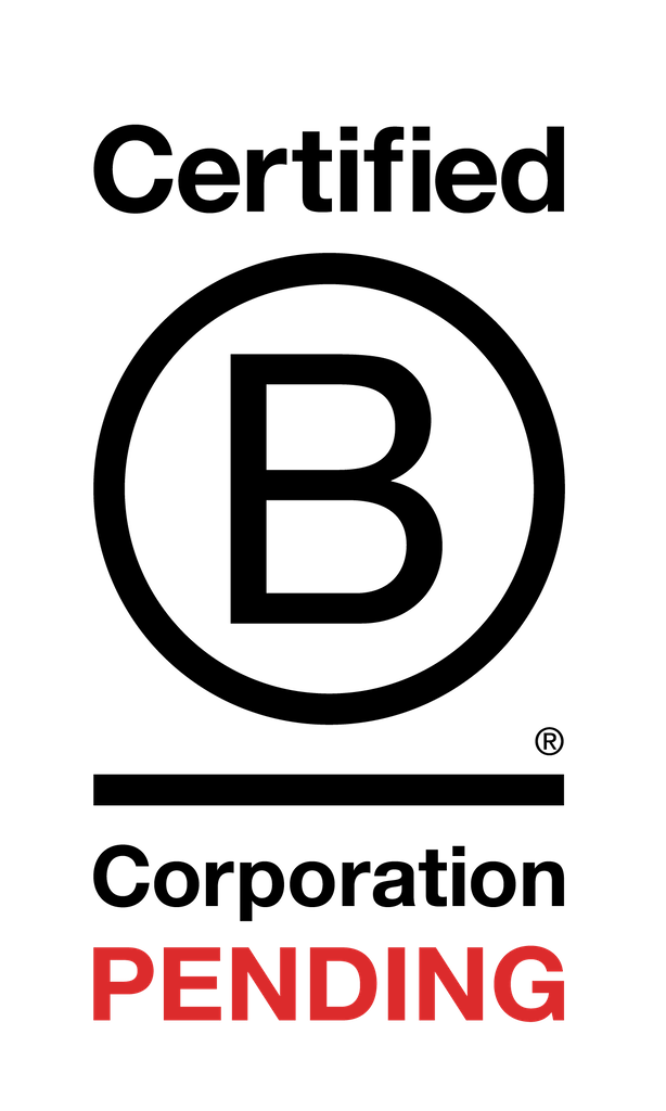 This is the Certified B Corporation Pending Logo in white and red with a grey background.