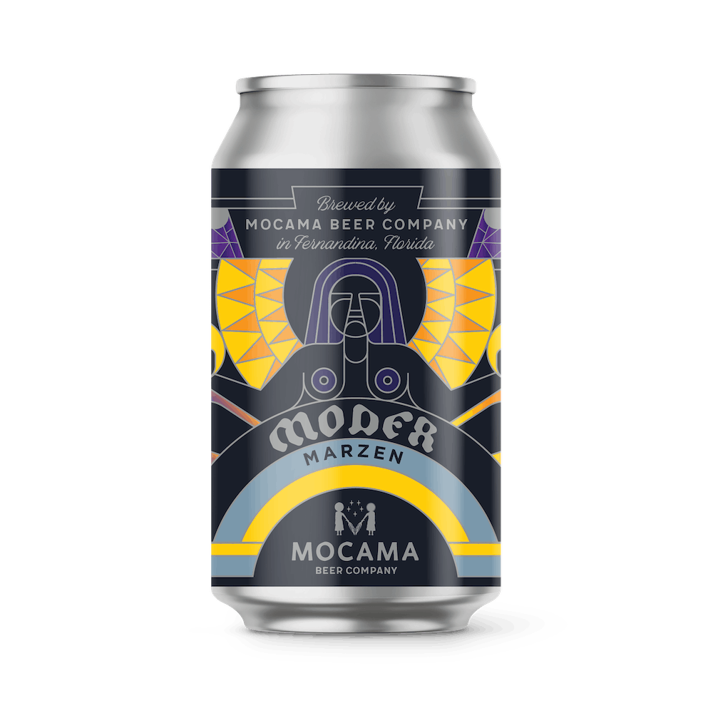 A can illustration of moder marzen lager beer. Yellow and purple label on a silver aluminum can.