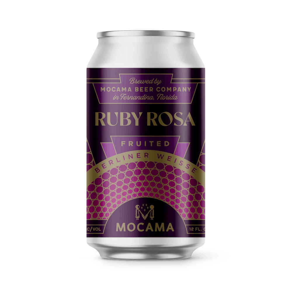 A can illustration of ruby rosa berliner weisse beer. Beautiful purple, pink and gold label on a silver aluminum can.