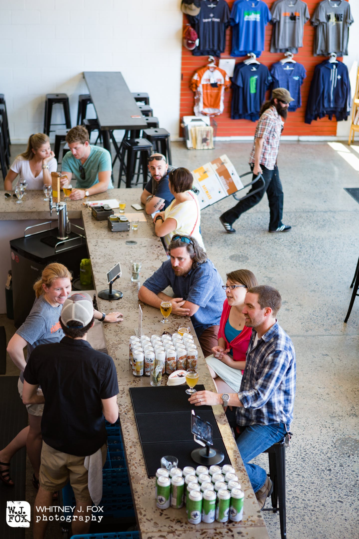 Rising Tide Brewing Company spring photo shoot at the tasting room on Fox Street in Portland's East Bayside neighborhood.  The artisanal craft brewery offers beer in an airy tasting room, plus live music, food trucks & tours.  According to the Maine Brewe