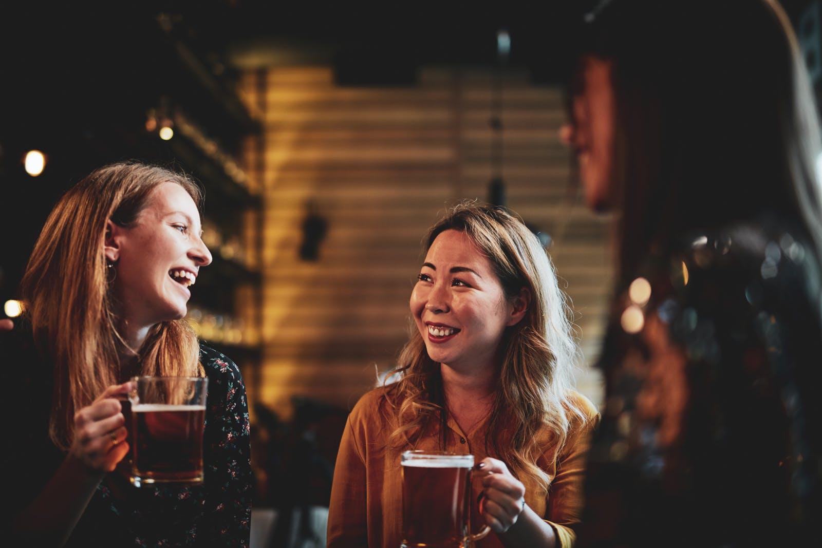 Women Drinking In Taproom