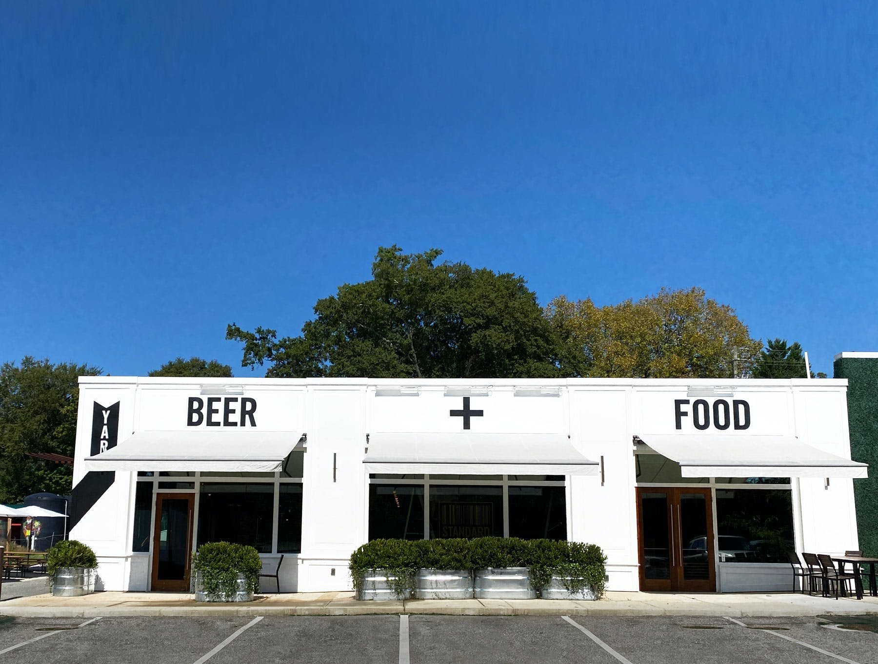 Outside of the taproom, street view