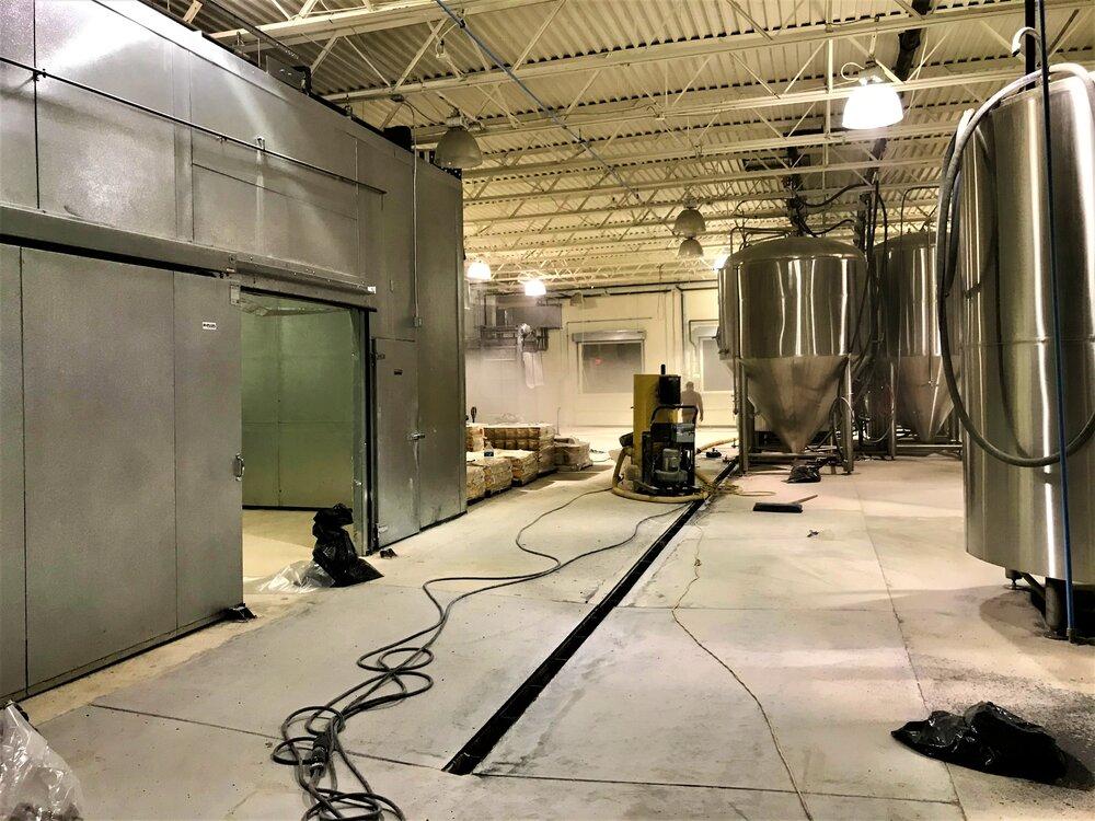 The Virginia Beer Co. begins installing new brewery floors in Winter 2021.