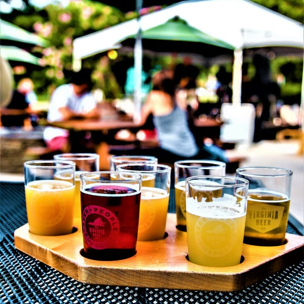 Photo of a flight of beer samples