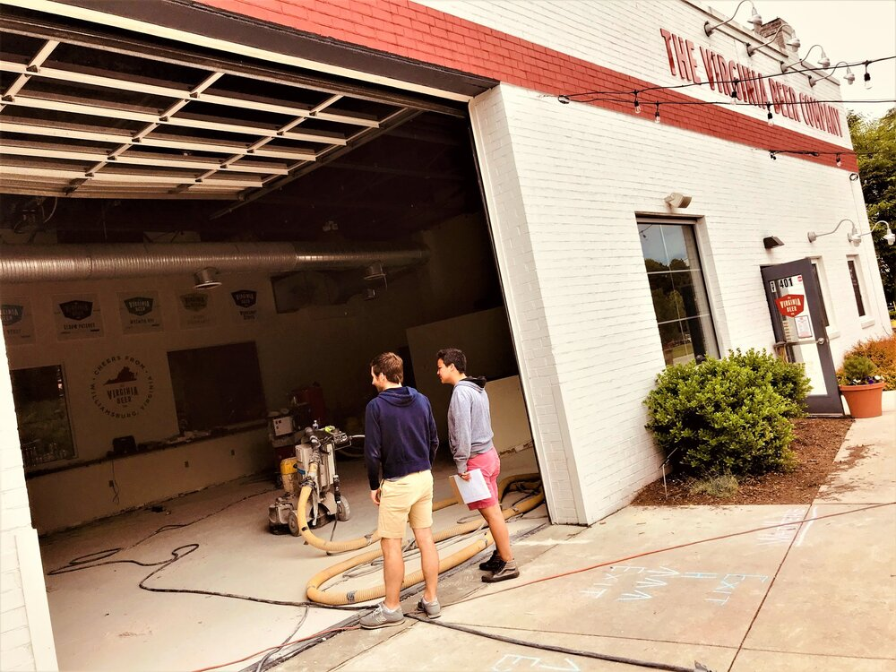 The Virginia Beer Co.'s taproom floor is reconstructed during Summer 2020.