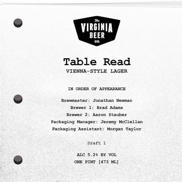 Table Read beer artwork