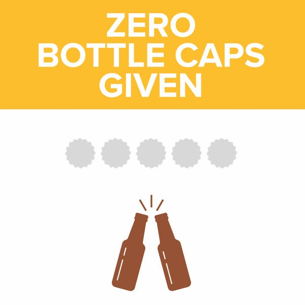 Image or graphic for Zero Bottle Caps Given