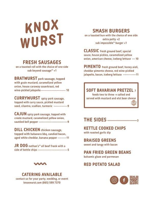 knox wurst menu